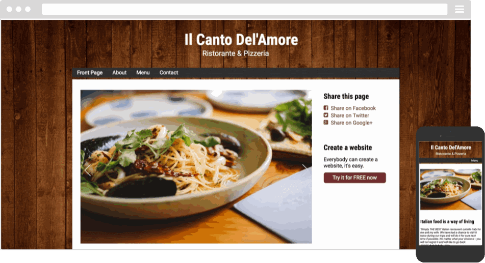 Mobile responsive template for a restaurant website