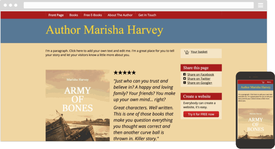 Mobile responsive template for an author website