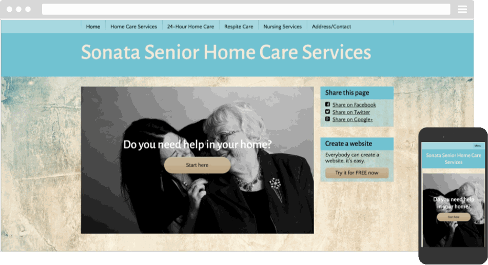 Mobile responsive template for a senior home care website
